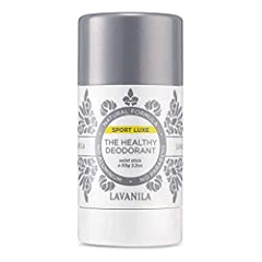 LAVANILA SPORT. Lavanila Sport Luxe deodorant offers a super clean burst of freshness delivering high performance, aluminum-free odor protection that works to minimize and absorb sweat molecules. THE HEALTHY SPORT DEODORANT. Tested on athletes, our s...