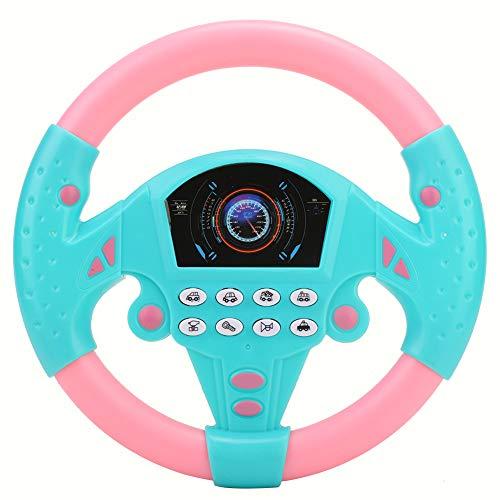 Tnfeeon Juguete de Volante para niños, Volante de simulación de Juguete con luz y Sonido de conducción Juguetes educativos para Infancia(Rosado Azul)