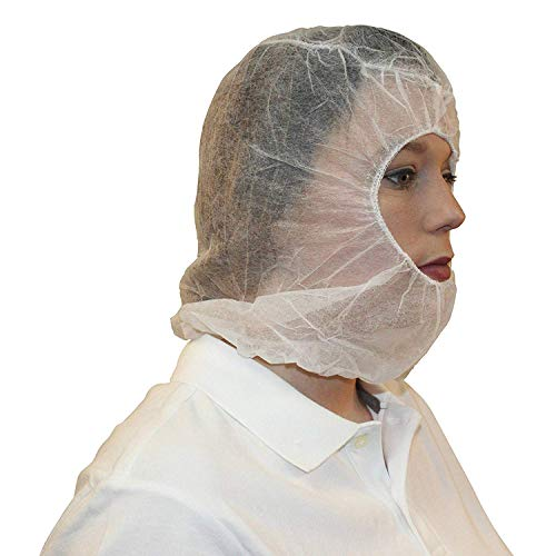 ZMDREAM Disposable Hooded Bouffant Caps Polypropylene Hair Net Beard Cover Combo White(Pack of 100)