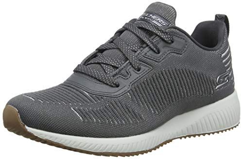 Skechers Bobs Squad - Glam League Sneaker Damen, Grau (Gray Engineered Knit/Silver Trim Gysl), 40 EU
