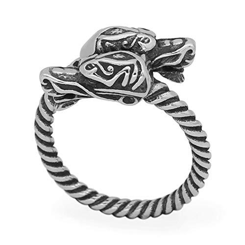 Anillo de Dragón Celta Vikingo Vikingo Nórdico, Hombres Ajustable Acero Inoxidable Doble Cabeza Dragón Anillo Retorcido, Nudo Escandinavo Nórdico Amulet Joyería Pagana (Size : 11)