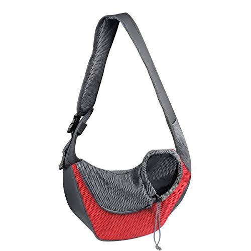 YouJia Pet Dog Sling Carrier, Breathable Mesh Travelling Pet Hands-Free Sling Bag Adjustable Padded...