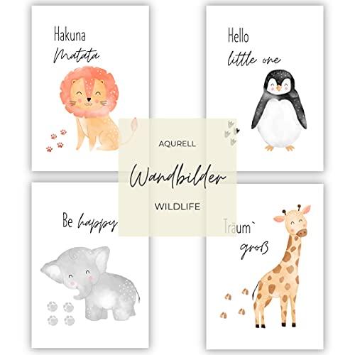 muuki® |4er Poster Set Wildlife Kinderzimmer Wandbilder Set | Bilder Kinderzimmer Jungen & Bilder Kinderzimmer Mädchen | Kinderzimmer Deko Mädchen & Kinderzimmer Deko Junge | Ohne Rahmen