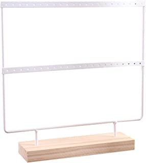 TOPBATHY Iron Earrings Stand Holder Earrings Display Stand Rack Jewelry Stand (White)