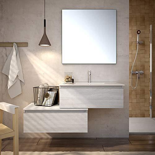 Aquareforma | Mueble de Baño con Lavabo y Espejo | Mueble Baño Modelo Serby 2 Cajones Suspendido | Muebles de Baño | Diferentes Acabados Color | Varias Medidas (Hibernian, 80 cm)