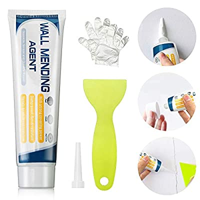 Jeteven Wall Mending Agent,Drywall Patch Repair Cream Paste Drywall Repair Putty with Scraper Waterproof Wall Compound Cream Kit Fill The Holes &Crack in Wall Surface(1 Pack)