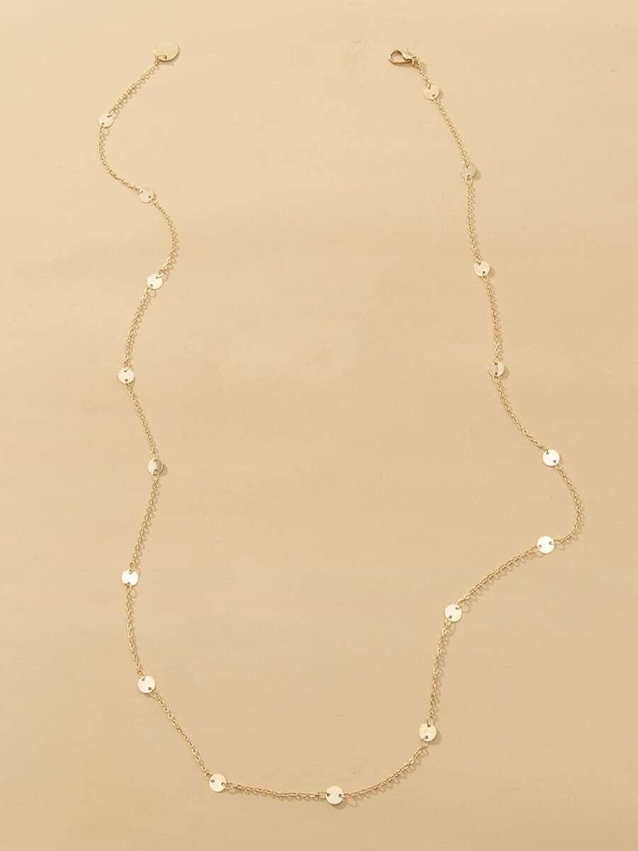 AXJTNL Necklace Pendant Disc Decor Y Lariat Necklace (Color : Gold)