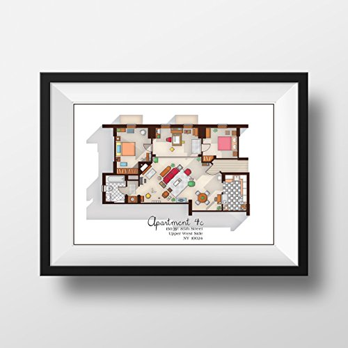How I Met Your Mother Apartment - Famous TV Show Floor Plan - Modern Art Poster for Residence of Ted Mosby - TV Show Poster