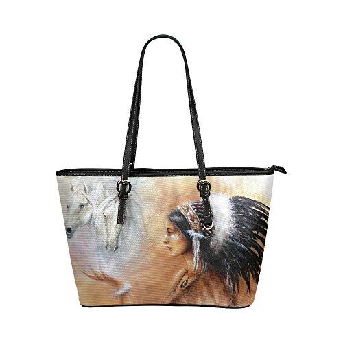 Männer Handtaschen Schöne Airbrush Malerei Young Native Indian Leder Hand Totes Tasche Kausalen Handtaschen Mit Reißverschluss Schulter Organizer Für Dame Mädchen Womens Fun Handtaschen