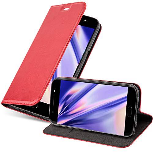 Cadorabo Hülle für WIKO U Feel LITE in Apfel ROT - Handyhülle mit Magnetverschluss, Standfunktion & Kartenfach - Hülle Cover Schutzhülle Etui Tasche Book Klapp Style
