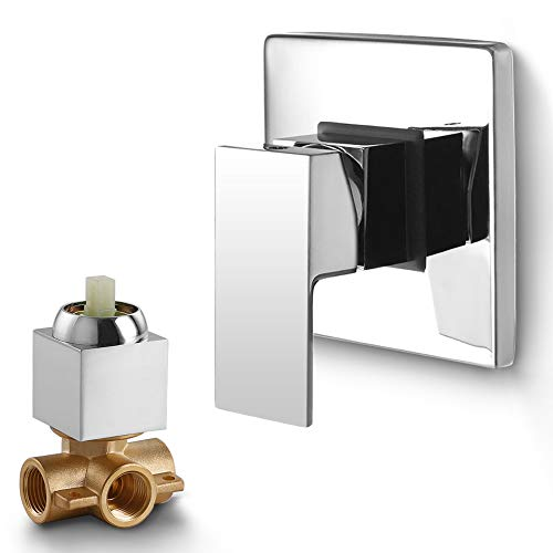 Dr Faucet Shower Mixer Valves Wall Mount Bathroom Copper Faucet Shower Rough-In Valve Trim Kit One Way Tub Shower Valve Mixer, Polished Chrome Dr-1500
