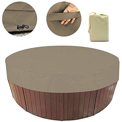 Cubierta redonda para bañera de hidromasaje al aire libre, con cordón elástico de ajuste resistente hecho de poliéster 190T duradero anticorrosivo