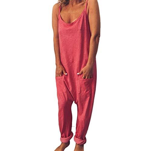 Fannyfuny Damen Jumpsuit Frauen Latzhose Playsuit mit Taschen Casual Sexy Rückenfrei Ärmellos Jumpsuit Strandkleid Lang Weites Bein Overalls Lange Wide Leg Hosen Baggy Sommerhose S-XL