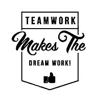 Ytsmsyyチームワークは夢の仕事を作りますウォールステッカーポスター装飾ビニールオフィスワードアートスタイル粘着ステッカー壁画装飾55x59cm