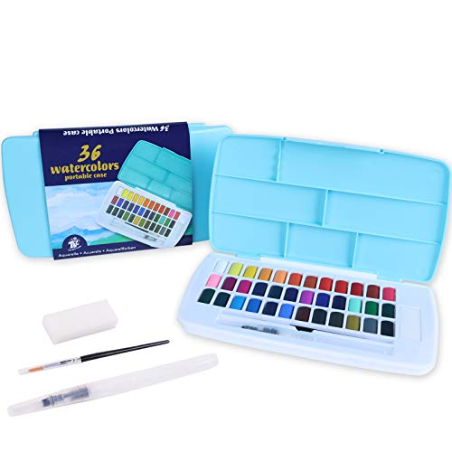 TBC The Best Crafts Solid Watercolor,36 Assorted Colors with Water Brush,Hook Pen,Watercolor Paint Set,Travel Palette for Kids and Adults