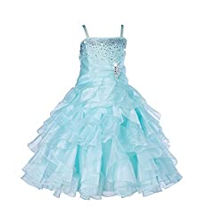 Mint Rhinestone Organza Layer Flower Girl Dresses