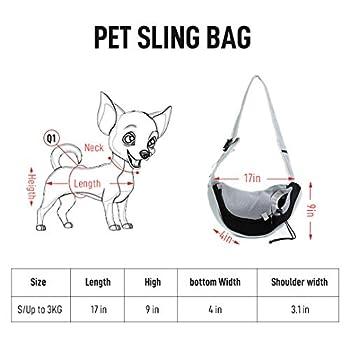 FayTun Sac de transport pour chien, sac de voyage en filet respirant pour animaux mains libres, fermeture à glissière à une épaule Sac protable ouvert pour chats Chiens Chiot Chaton Lapin