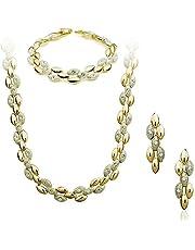 طقم مجوهرات مطلي بالذهب 18 قيراط ومرصع بخرز بتصميم حبة قمح ومزين بحجر السواروفسكي وحجر الراين ويتكون من عقد وسوار واقراط