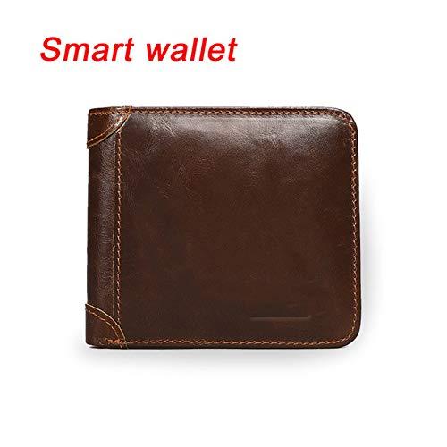 Smart Wallet GPS zeichnet Mann Anti-Lost echte Leather Männer hochwertige Kurze Brieftaschen Multifunktionale Geldbörsen Herren Geldbörse-Smart Coffee