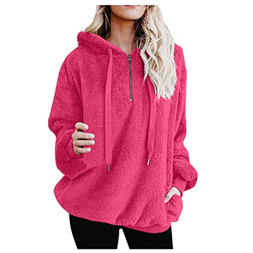 haoricu Womens Outdoor Pullover Hoodie Sweatshirt Winter Warm Fuzzy Fleece Hooded Jacket Oversized Coat Outwear