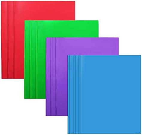 Plastic Folders with 2 Pockets and 3 prongs 12 Pack Multicolor Plastic Two Pocket Folders with product image