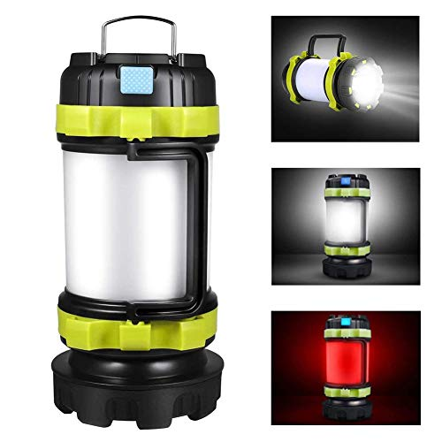 TechCode Camping Lantern Rechargeable, Multi-Function LED Flashlight with 3600mAh Power Band, 6 Lighting Modes Waterproof Tent Lamp Emergency Red Strobe Light for Hiking Fishing Outdoor Recreations