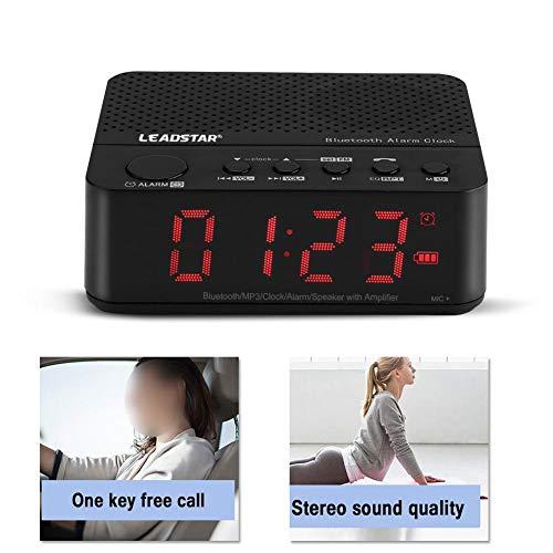Bluetooth-luidspreker, draadloze Bluetooth-audiomuziekdoos, FM-radio digitale wekker MP3-speler met TF-kaart/FM-radiofunctie / 3,5 inch klokweergave (zwart)