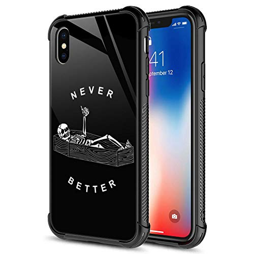 cheap iphone xr cases iPhone XR Case, Never Better Skeleton iPhone XR Cases, Tempered Glass Back+Soft Silicone TPU Shock Protective Case for Apple iPhone XR