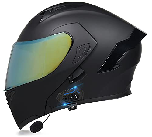 Casco Bluetooth Motocicleta Tipo Abatible,Casco para Motocicleta Casco Motocicleta Bluetooth Modular Integrado,Certificación ECE con Lente Dual Antivaho,Micrófono Incorporado F,L=(57-58CM)