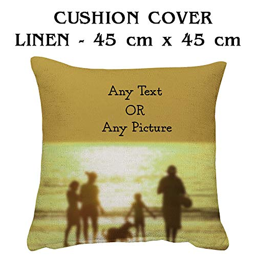 Giftme Personalised with your own Text/Image/Any Name themed Cushion Cover-Throw Pillow Cover. (45 cm x 45 cm Linen Cushion Cover)