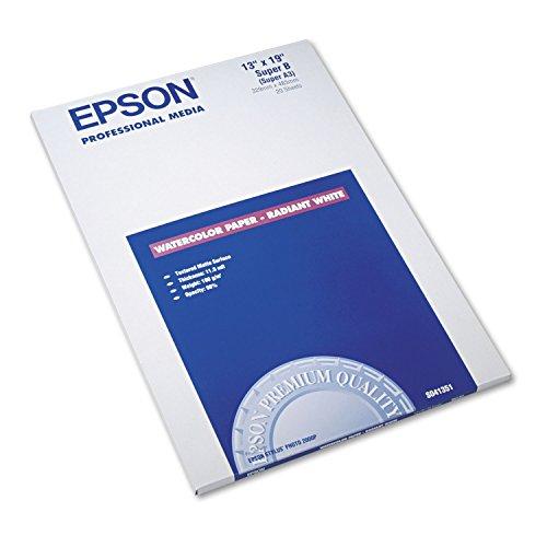 Epson Watercolor Radiant White Inkjet Paper, 13 x 19, White, 20/Pack