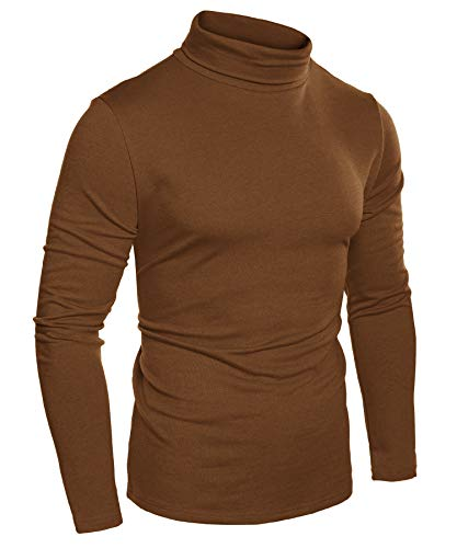 COOFANDY Mens Slim Fit Basic Thermal Turtleneck Sweaters Casual Knitted Pullover Sweaters (L, Brown 2)