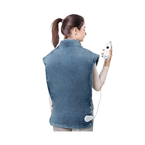 Sable Heating Pad for Neck and Shoulders XXXLarge 27quot x 35quot Heating Pad for Back Pain Relief with Auto Off 6 Temperature Settings Moist Heat Therapy Fast Heating Blue