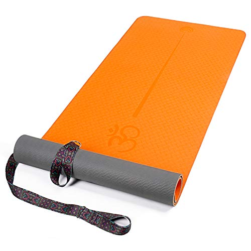XGEAR Esterilla Yoga Antideslizante, Alfombrilla TPE de Yoga, Esterilla de Pilates, Colchoneta de Deporte con Correa de Hombro 183cm*61 * 0,6cm (Naranja Gris)