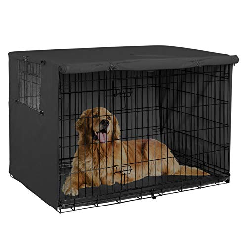 Explore Land 42 inches Dog Crate Cover - Durable Polyester Pet Kennel Cover Universal Fit for Wire Dog Crate 1(Black)
