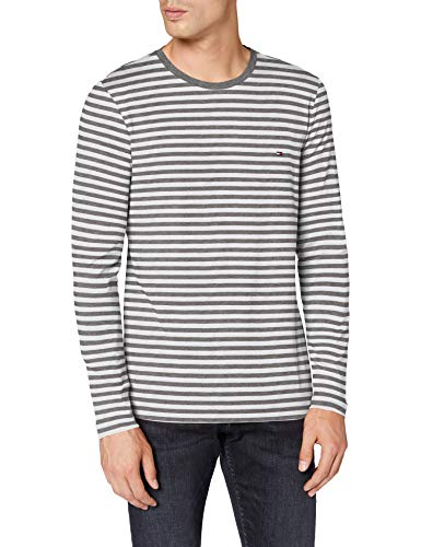 Tommy Hilfiger Herren Stretch Slim Fit Long Sleeve Tee Hemd, Dark Grey Htr/White, M