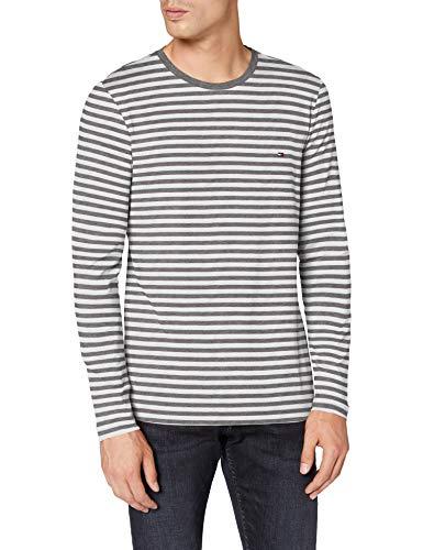 Tommy Hilfiger Stretch Slim Fit Long Sleeve tee Camisa, Dark Grey Htr/White, M para Hombre