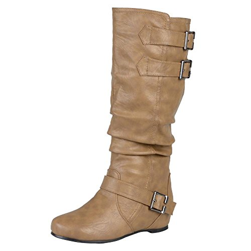 Journee Collection Womens Regular Sized and Wide-Calf Buckle Slouch Low-Wedge Boots Taupe, 11 Regular US