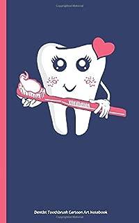 Dentist Toothbrush Cartoon Art Notebook: Pink Heart, DIY Writing Diary Planner Note Book - 100...