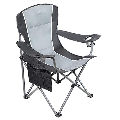 ALPHA CAMP Oversized Camping Folding Portable Chair Heavy Duty Steel Frame Support 160kg Arm Chair with Cup Holder Quad Lumbar Back Chair for Outdoor/Indoor_Gray-Black