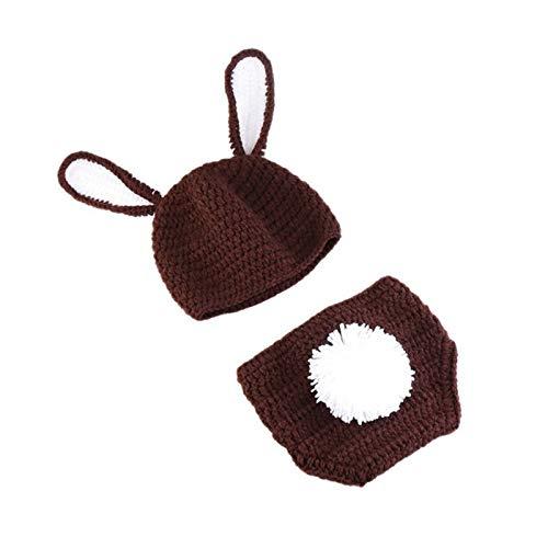 NCONCO 3 piezas de accesorios de fotografía de bebé trajes de ganchillo conejo sombrero pantalones cortos zanahoria infantil foto traje