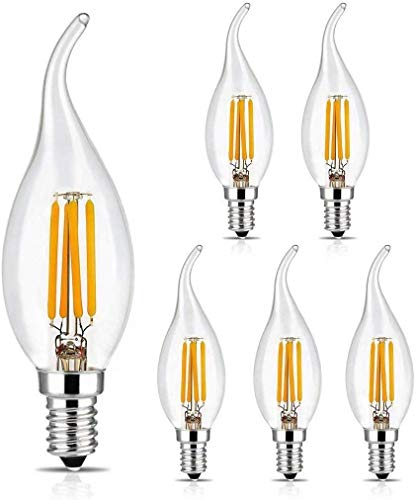 BRIMAX E14 LED Glühbirne 4W Candle Bulbs Dimmbar, Warmweiß 2700K, 400lm, Ra80 +, kleine Edison-Schraube, SES LED Chandelier Bulbs, C35T Vintage Filament Energiesparende Kandelaber-Glühbirne, 6er Pack
