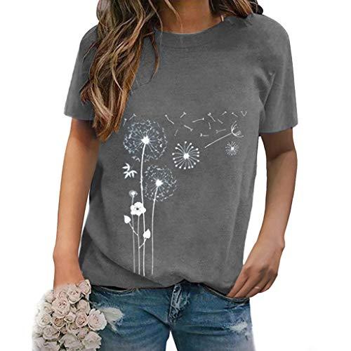 Xniral Damen Shirt Sommer Kurzarm Muster Tops Rundhals Bluse T-Shirt Kurzarmshirt Lose Beiläufig Oberteil Basic Tee(e-Grau,XXL)