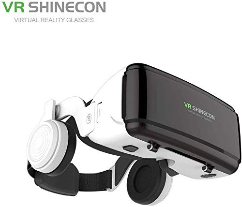 YXZQ VR Virtual Reality 3D Brillenbox Stereo VR Google Cardboard Headset Helm für iOS Android Smartphone, Blue-Tooth Rocker G06E Kopfhörer Edition