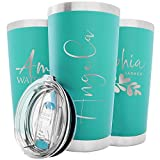 Personalized Tumblers w/Splash Proof Lid - 20 oz, Teal - 18 Designs - Vacuum Insulated Travel Coffee Mugs - Stainless Steel Double Wall Thermos - Personalized Cups, Hot and Cold Drink Use