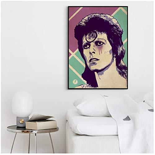 xiongda David Bowie Ziggy Stardust Poster Musicale Hip Hop Rap Music Band Star Poster Wall Art Painting Room Home Decor Stampa su Tela / 50X75cm-No Frame