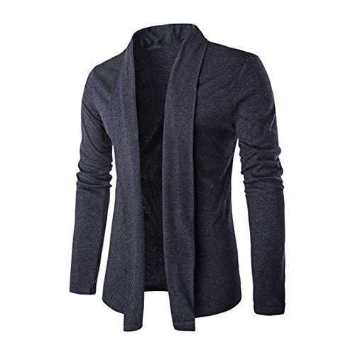 Jacke Herren Einfarbig Sanft Komfortabel Jacke Frühling Und Herbst Business Lässig Boutique Jacke Mode Dünn Und Leicht Atmungsaktiv Strickjacke .Z-Dark Gray XXL
