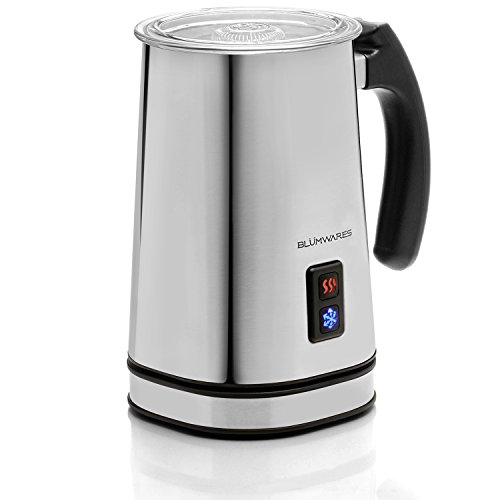 Belwares Automatic Handheld Electric Milk Frother and Warmer Carafe Made of Stainless Steel with Vacuum Insulation to Maintain Temperature, Makes Hot or Cold Milk Froth for Iced Drinks, & Cappuccino