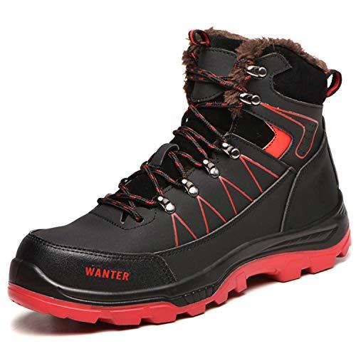 [JUDBF] ハイカット安全靴 スニーカーメンズレディース 冬用作業靴先芯入り軽量 あんぜん靴 半長靴ワーク シューズ 通気性 耐摩耗 防刺耐滑工事現場靴 防水 防寒 アウトドア ハイキングシューズ608Warm Black/43