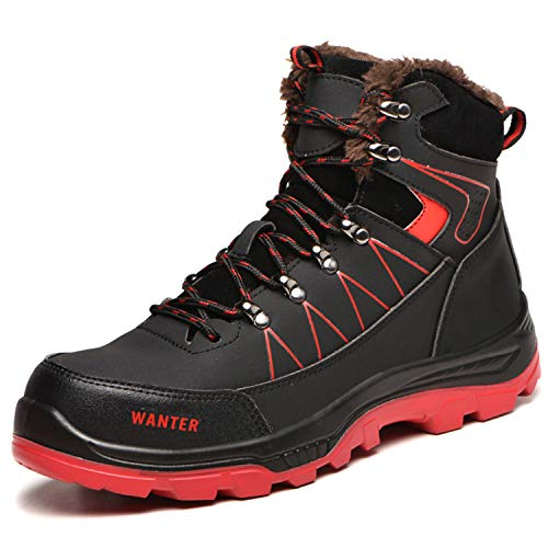 [JUDBF] ハイカット安全靴 スニーカーメンズレディース 冬用作業靴先芯入り軽量 あんぜん靴 半長靴ワーク シューズ 通気性 耐摩耗 防刺耐滑工事現場靴 防水 防寒 アウトドア ハイキングシューズ608Warm Black/38